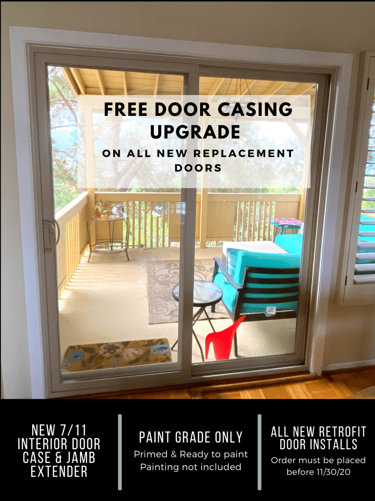 Free Door Casing Upgrade promotion at Window Solutions in Lakeside California
